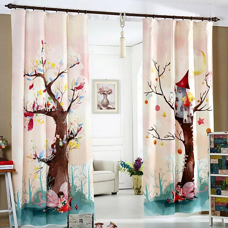 Kız Çocuk Odası Ağaçlı Perde Modelleri