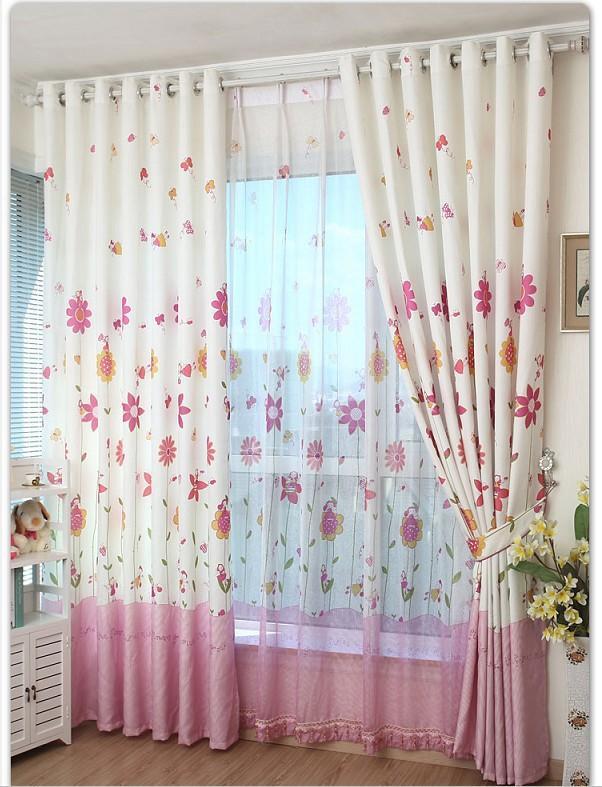 Kız Çocuk Odası Çiçekli Perde Modelleri