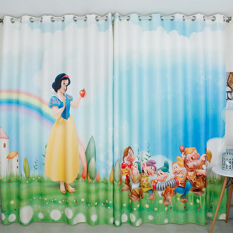 Kız Çocuk Odası Perde Modelleri Prenses Yedi Cüceler