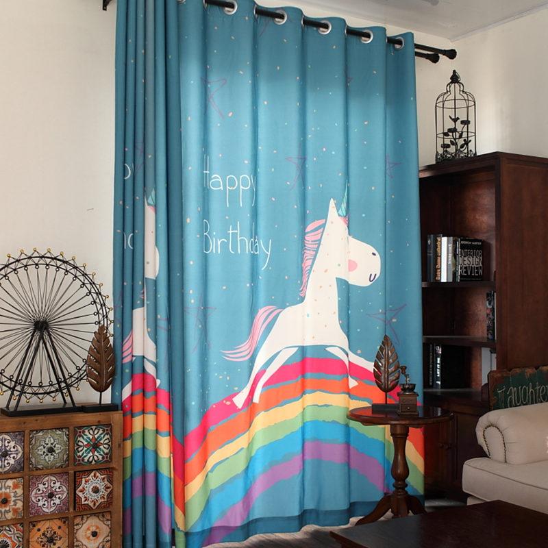 Kız Çocuk Odası Perde Modelleri Unicorn
