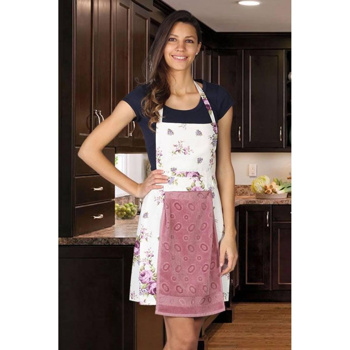 Rose Desenli Mutfak Önlüğü