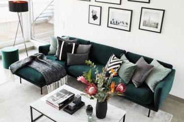 yeşil koltuk iskandinav salon dekorasyonu