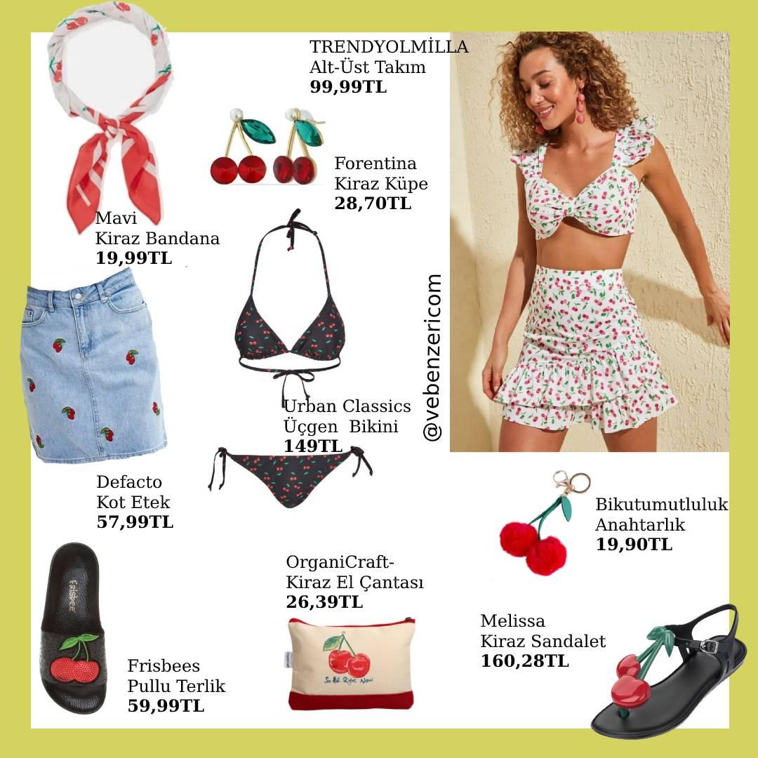 kiraz desenli kadın giyim ürünleri