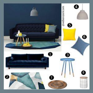 lacivert koltuk ile modern salon dekorasysonu