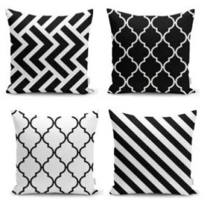 Siyah beyaz geometrik yastık kılıfı kombini