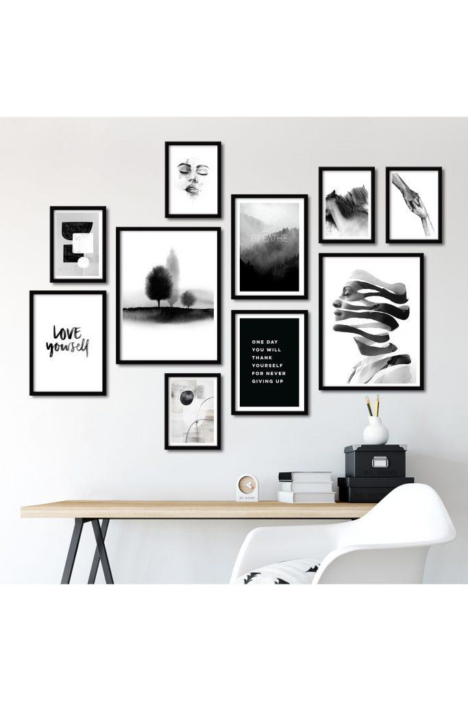 siyah beyaz tablo seti