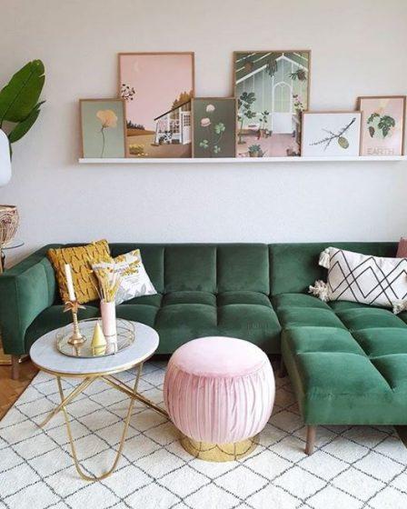 yeşil koltuk boho chic salon dekorasyonu