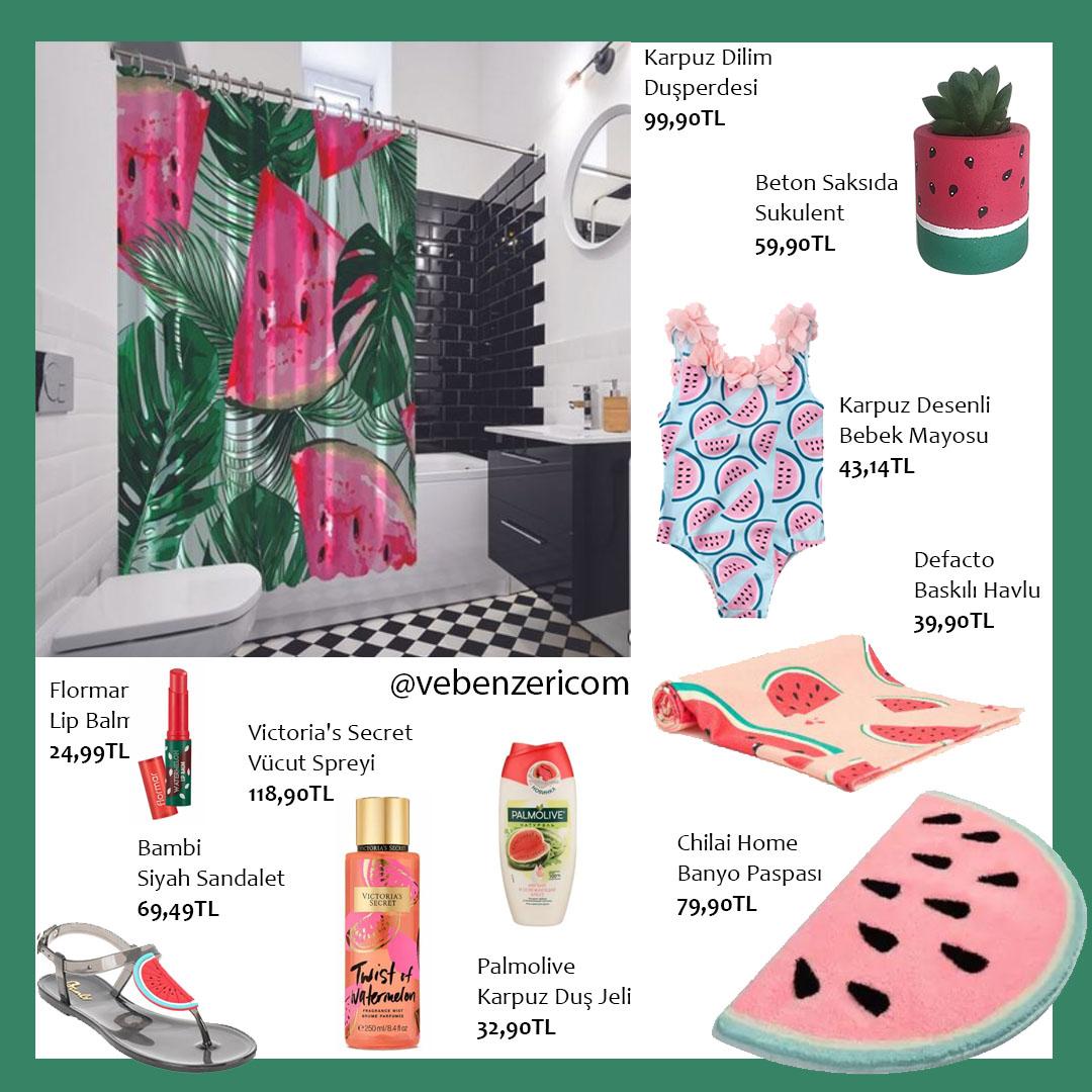 karpuz desenli banyo plaj ürünleri