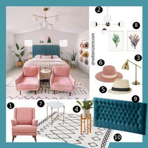 renkli bohochic yatak odası dekorasyonu