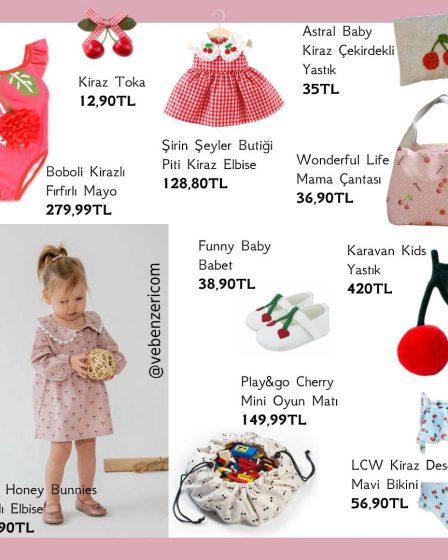 kiraz desenli bebek ürünleri