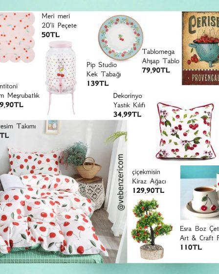 kiraz desenli ev dekorasyon ürünleri