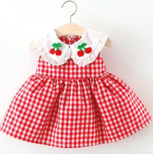 kiraz desenli ekose bebek elbisesi